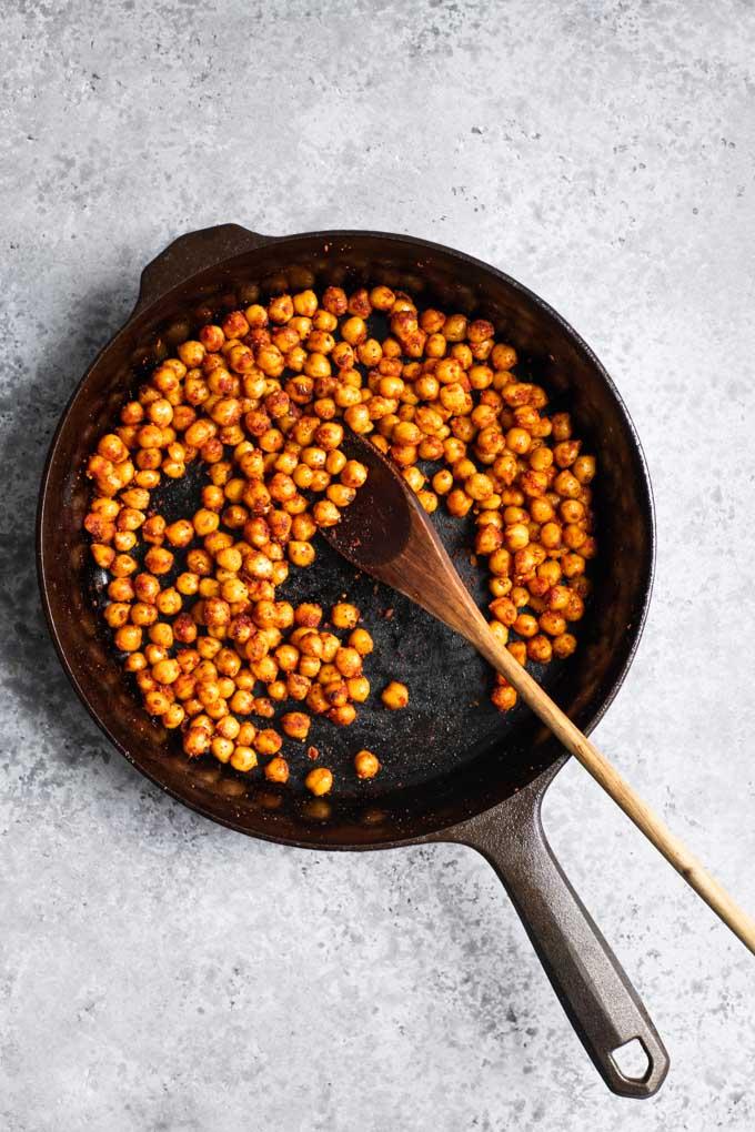 chorizo chickpeas in skillet