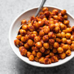chorizo spiced chickpeas served in a bowl