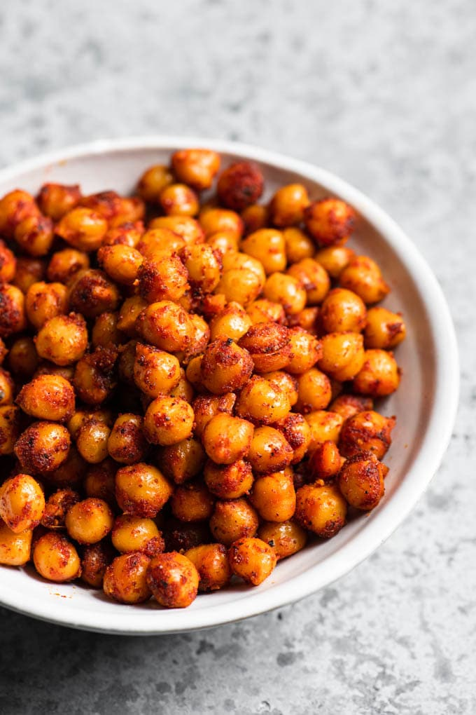 close up of the chorizo spiced chickpeas