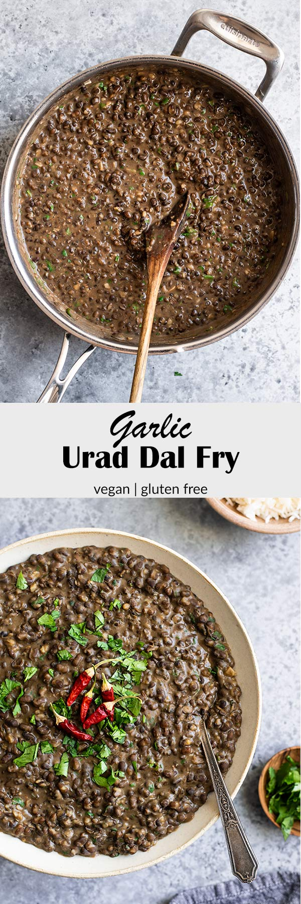 Garlic urad dal fry is a delicious Indian lentil dish. It's so easy to make and bursting with flavor! Try this next time you're considering take out! #vegan #glutenfree #indian #dal #veganindian #veganentree #entree #lentils #uraddal