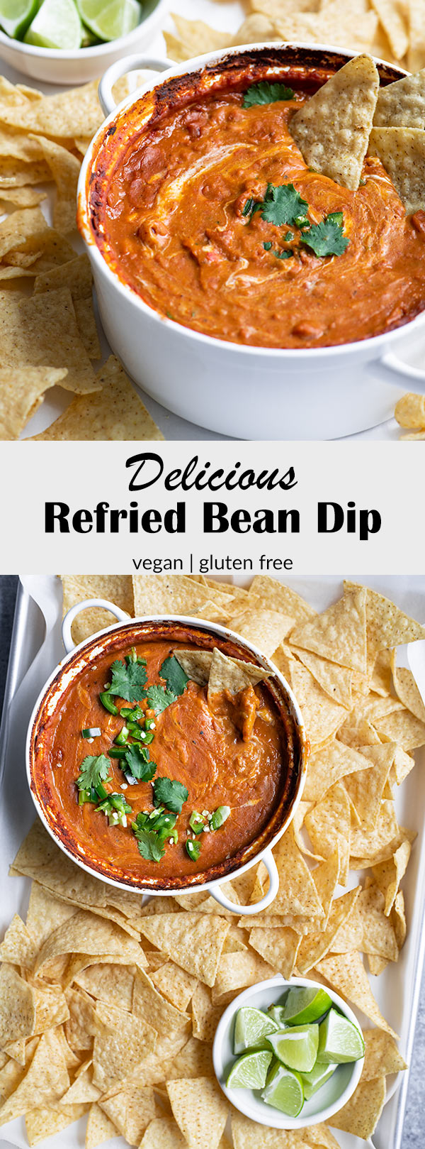 This refried bean dip is a crowd pleasing snack or appetizer! It's super easy to make and needs just a few pantry friendly ingredients to come together. It's also vegan and gluten free, but you'd never know it! #vegan #glutenfree #vegandip #vegansnack #vegansuperbowl #gameday #glutenfreevegan #beandip #refriedbeans #veganmexican