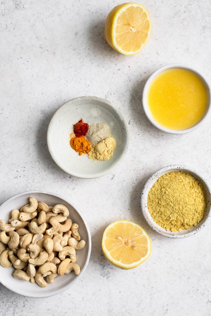 ingredients for cashew hollandaise