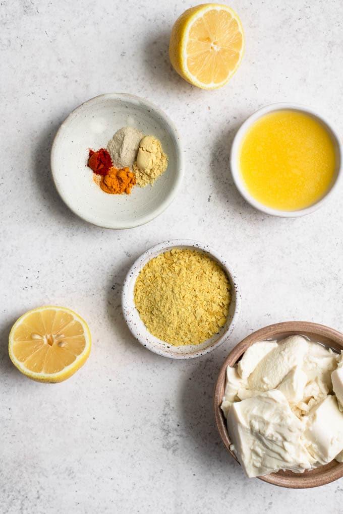 ingredients for totu hollandaise