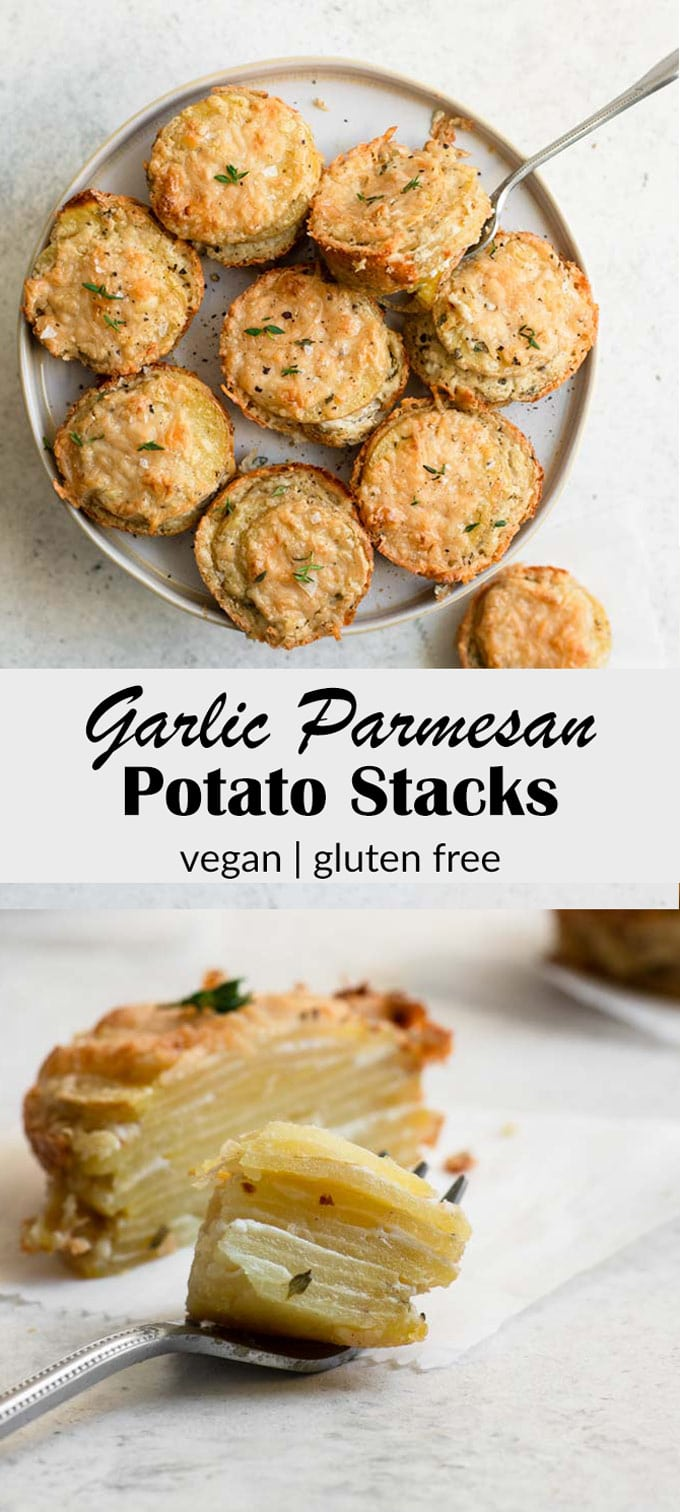 These cheesy vegan potatoes make for the most tasty and adorable side dish! Potato stacks are similar to scalloped potatoes but arranged into individual portions when baked so the sides get deliciously crispy. #vegan #potatoes #veganpotatoes #veganside #glutenfreevegan #veganside #scallopedpotatoes #veganholiday
