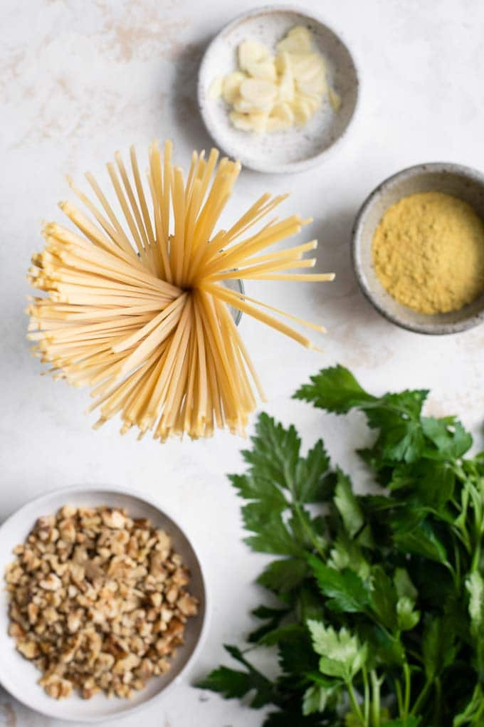 ingredients for walnut parsley linguine