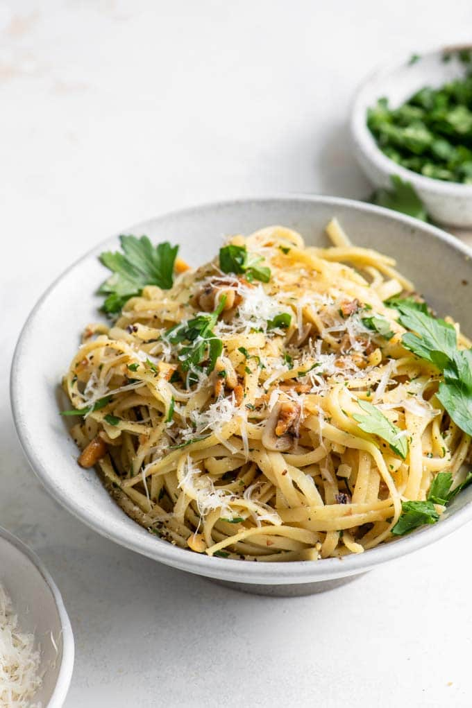 walnut parsley linguine