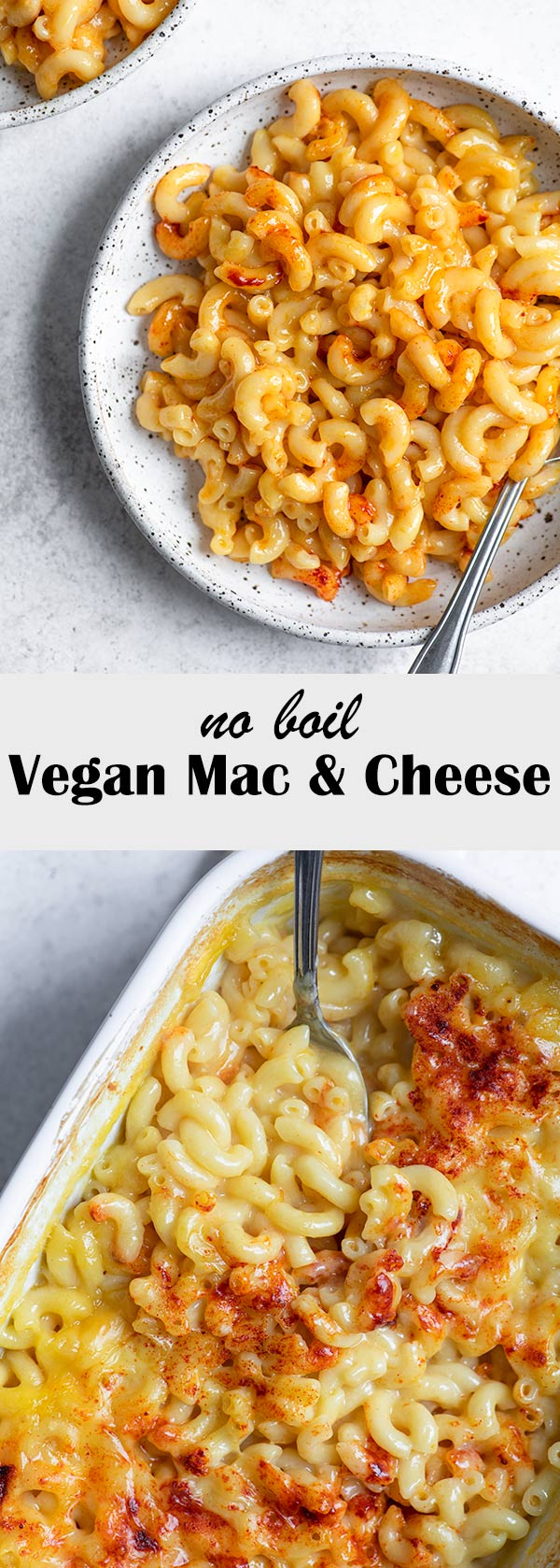 This vegan mac and cheese is made in the oven for a no-boil method. It makes a creamy cheesy sauce and crispy top, while cooking the noodles to perfection! It's an easy 1-dish dinner, perfect for busy weeknights or hands off weekends. It makes plenty for leftovers or to feed a crowd! Recipe at thecuriouschickpea.com #veganpasta #vegancheese #veganmacandcheese #macandcheese #pasta #veganmain #veganentree