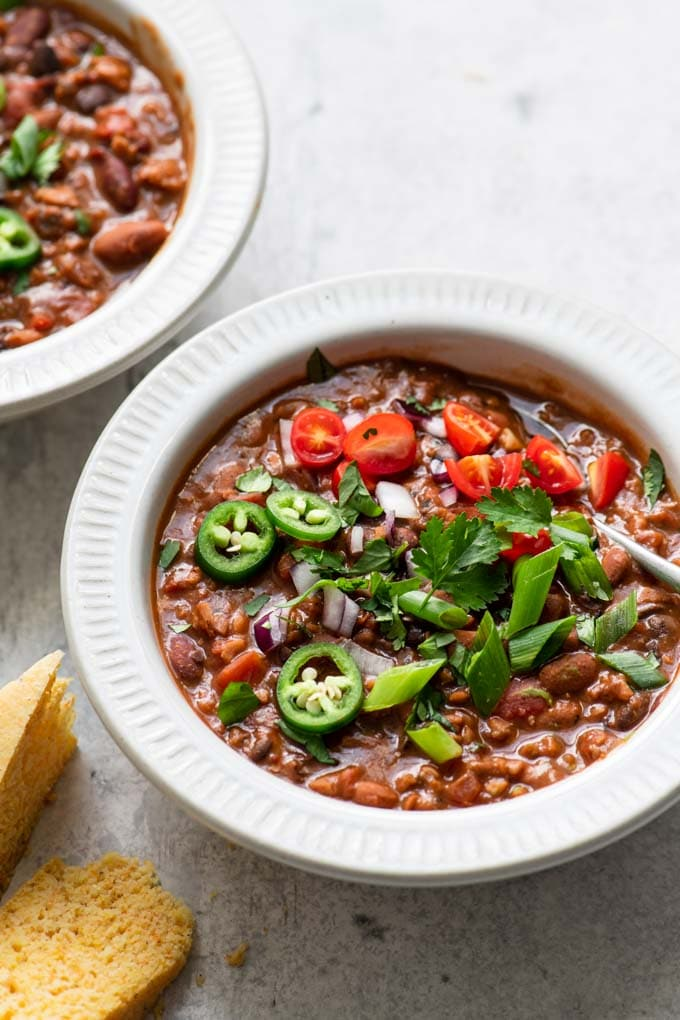 two bowls of meaty vegan chili