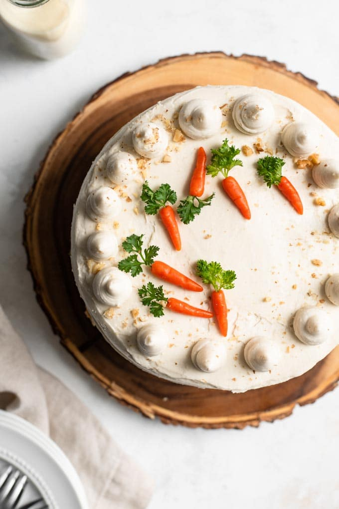 overhead view of carrot cake with marzipan carrots