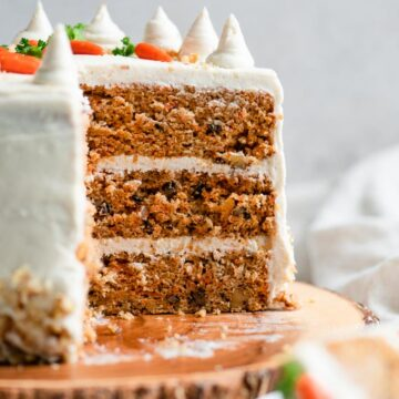 view of the inside of a 3 layer vegan carrot cake