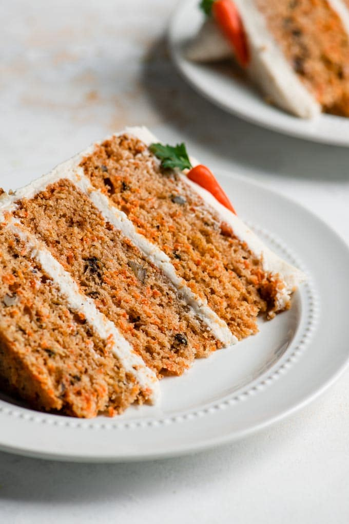 slice of vegan carrot cake on a plate