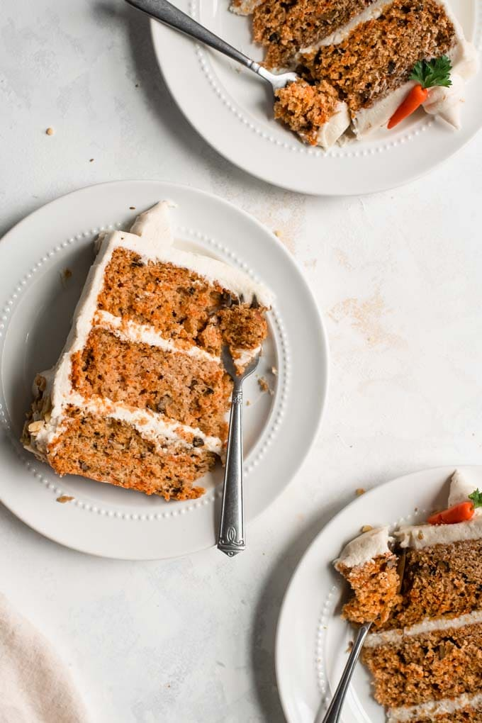 three slices of easy vegan carrot cake