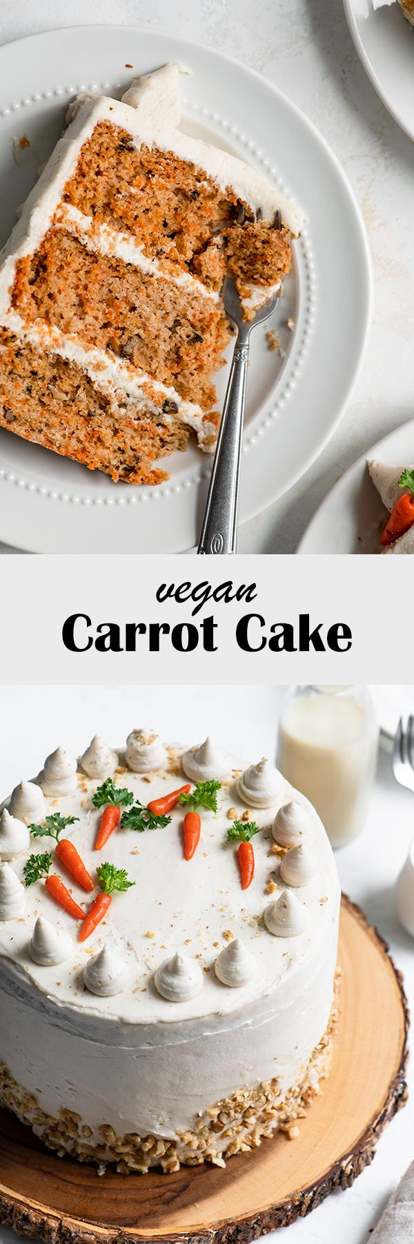 This easy vegan carrot cake is soft and tender, laced with cinnamon and nutmeg, and frosted with a vegan cream cheese frosting. It's a cake that is sure to impress! #veganbaking #vegancake #vegandessert #carrotcake #vegancarrotcake #dessert #cake #baking #layercake