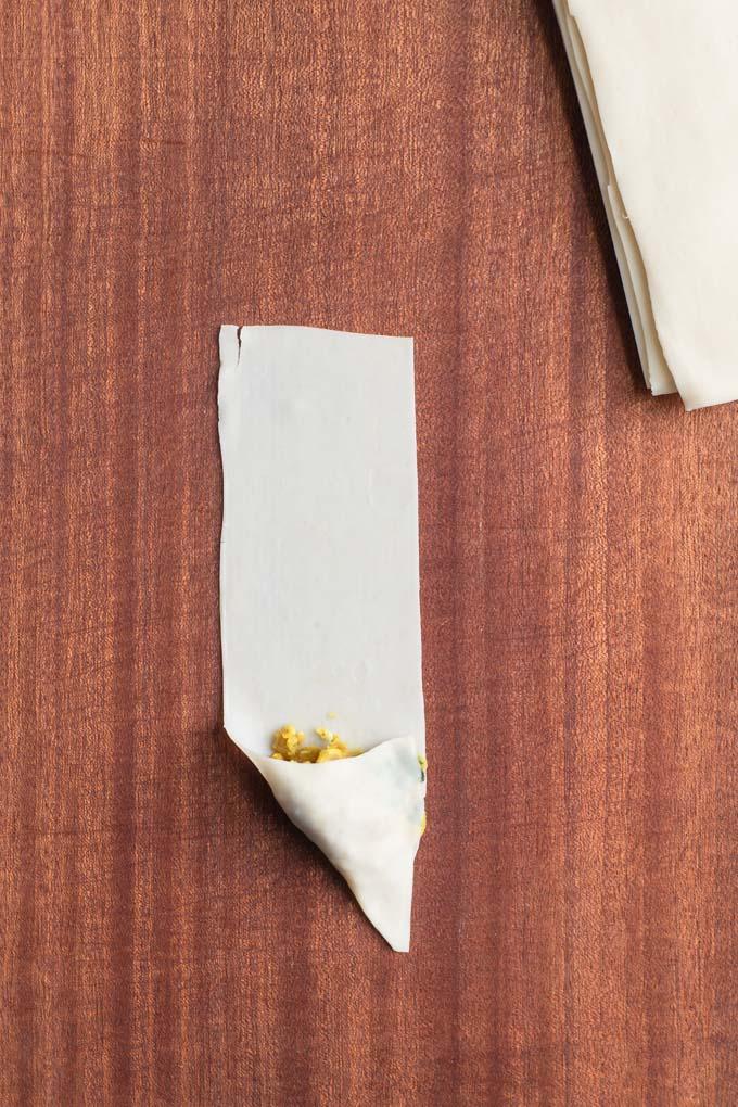 first fold of samosa shaping