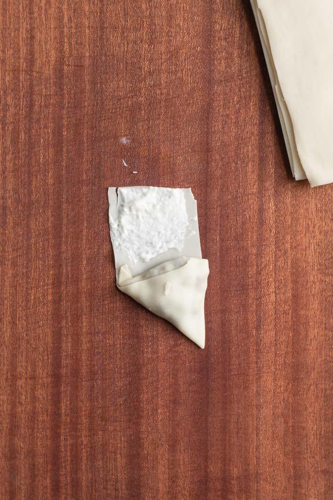 the brushed samosa wrapper glue
