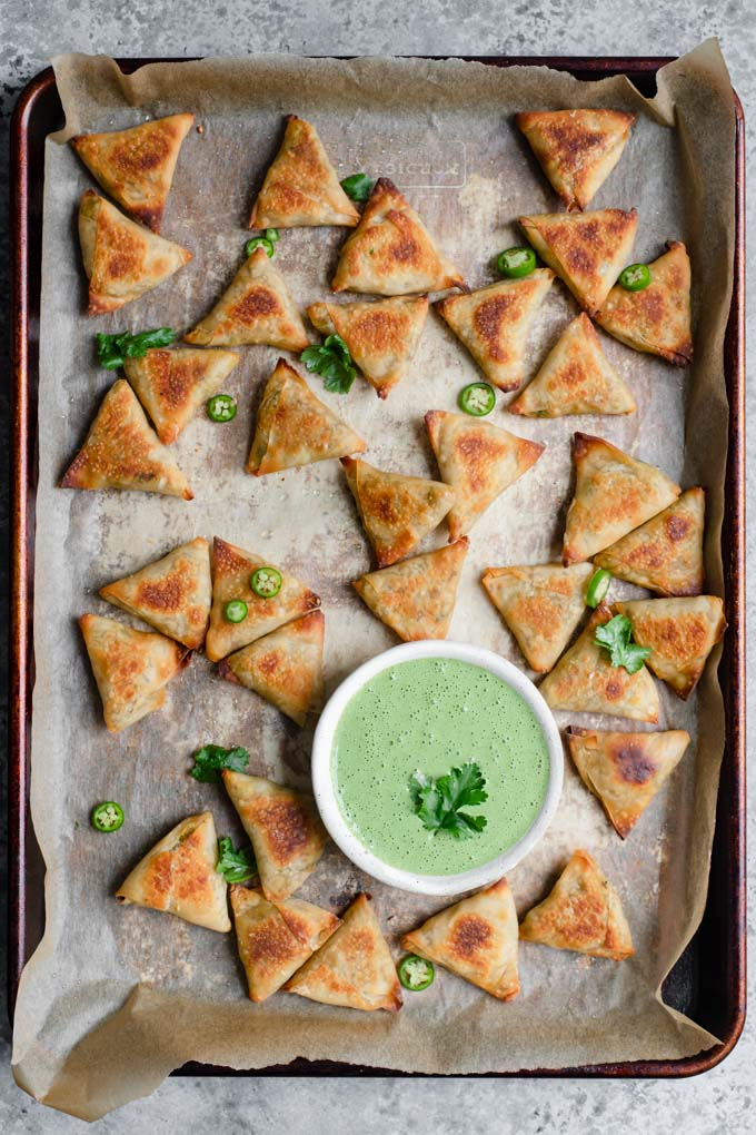 samosa on the baking tray after baking
