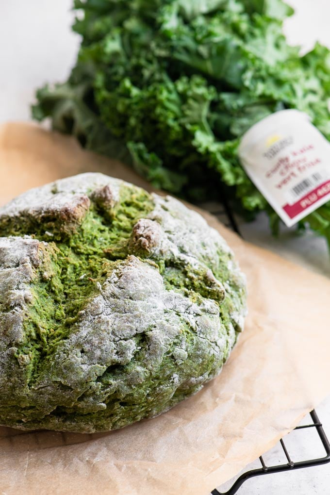 loaf of kale soda bread with nature's green's kale