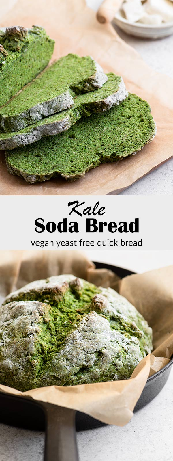 This homemade kale soda bread is soft and tender on the inside with a beautiful green hue that's 100% natural and from the kale! It's easy to make, and can even be made gluten free. #quickbread #sodabread #kale #baking #veganbaking #veganbread