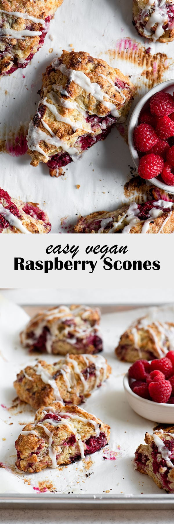 These homemade raspberry scones are so quick and easy to make! They're completely vegan, and absolutely delicious! Enjoy them for an easy breakfast or afternoon snack. #veganbaking #veganscones #scones #baking #vegantreats #raspberries