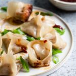 homemade vegan wontons with dipping sauce