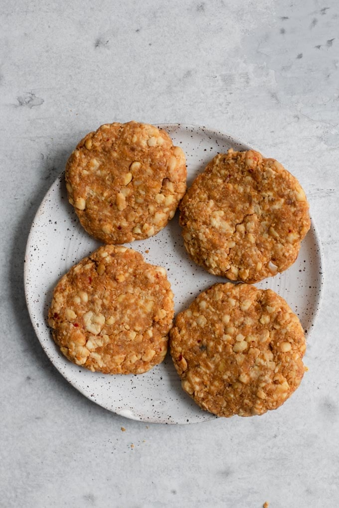 vegan tempeh burger patties, uncooked