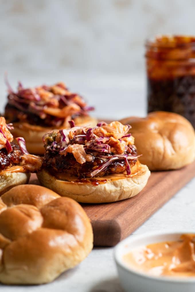 vegan korean barbecue tempeh burgers