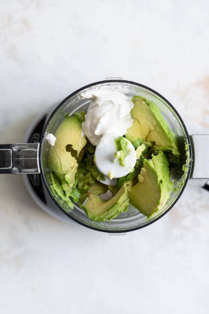 avocado crema ingredients in mini food processor