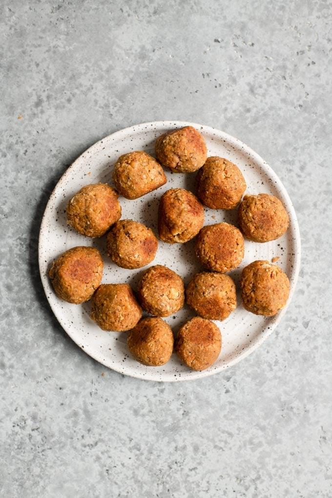 vegan meatballs on a plate