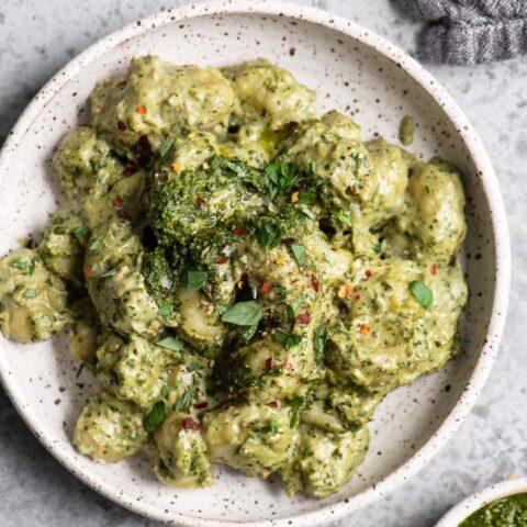 vegan pesto cream gnocchi in bowl
