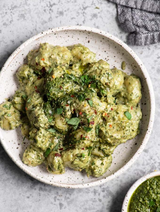 vegan pesto cream gnocchi in bowl