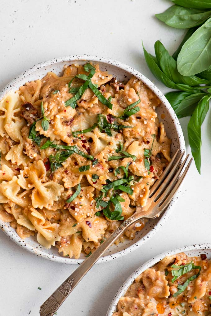 vegan sun dried tomato cream pasta in a bowl