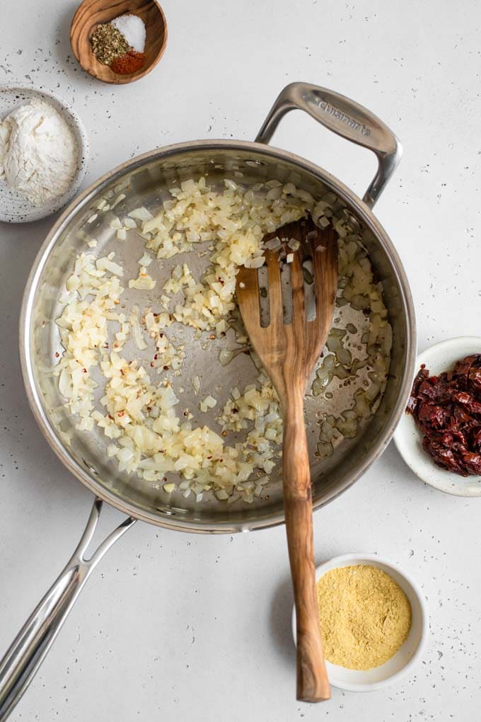 sautéed onions in pot