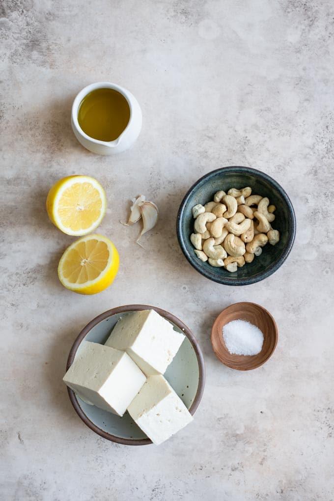 ingredients for vegan ricotta