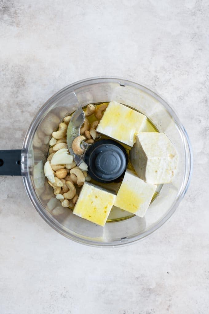 vegan ricotta ingredients in food processor