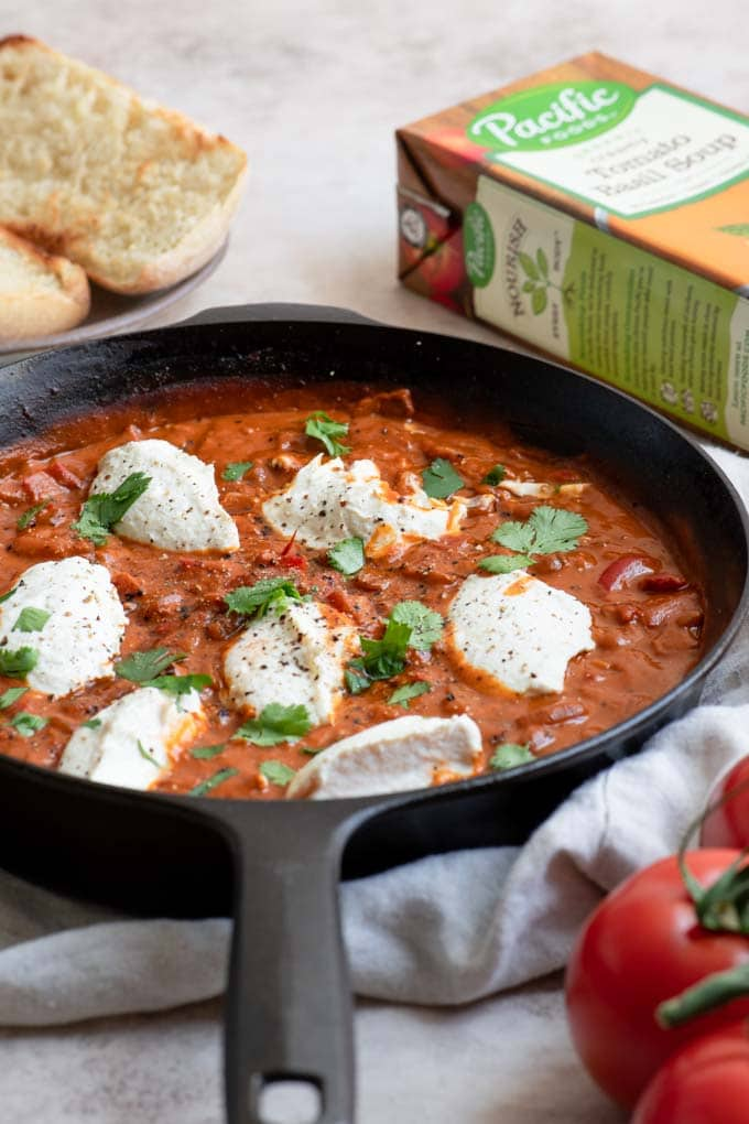 vegan shakshuka served in skillet