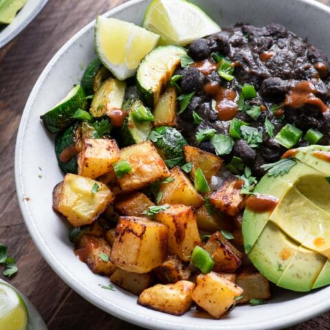close up of black bean burrito bowl