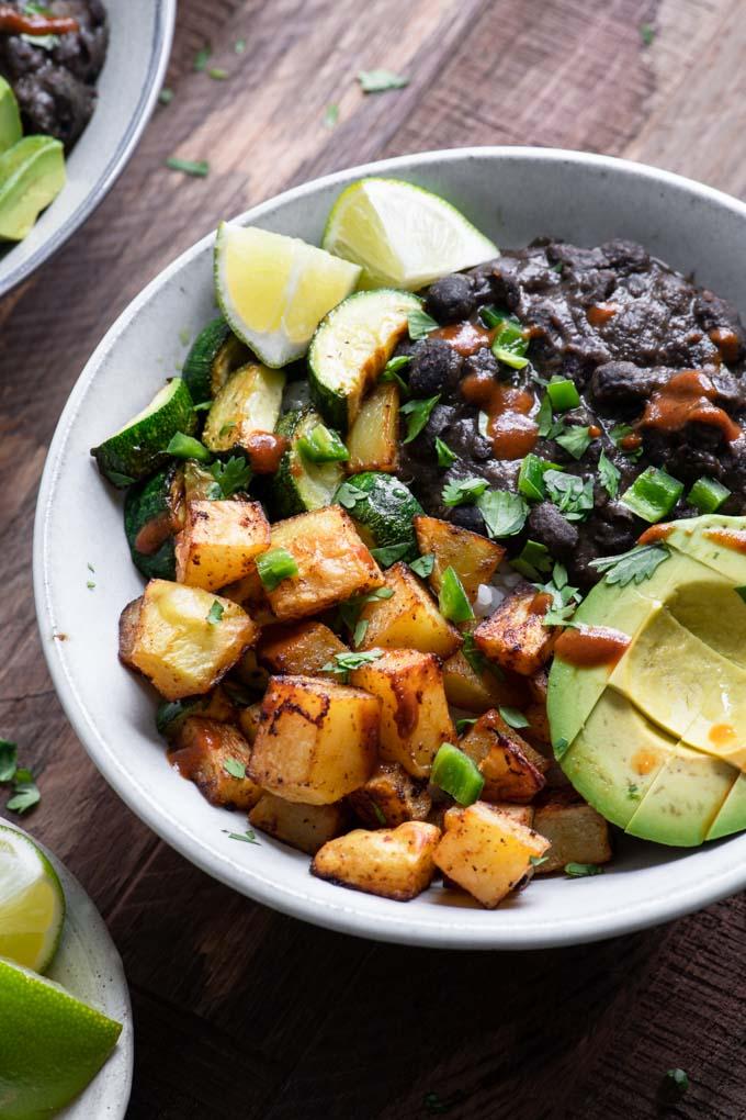 close up of black bean burrito bowl
