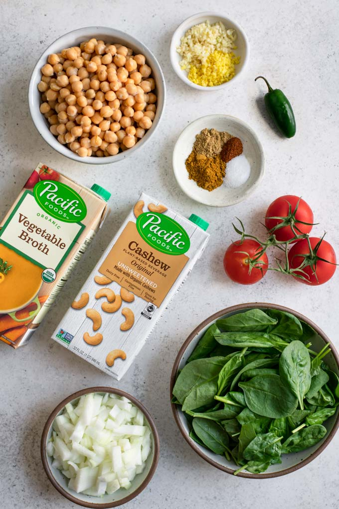 ingredients for chickpea and spinach curry