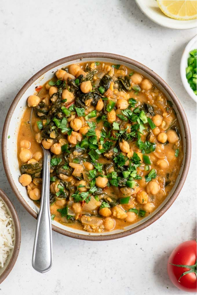 close up of chickpea and spinach curry