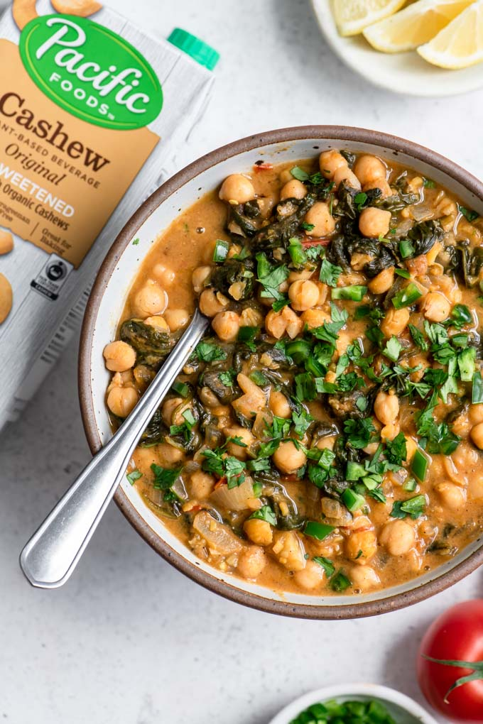 chickpea and spinach curry with Pacific Foods Original Cashew Unsweetened Beverage