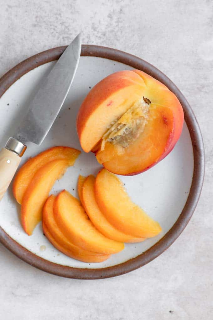 thinly sliced peach for pancakes