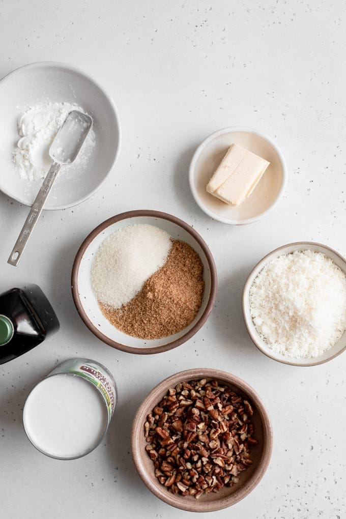 ingredients for coconut pecan frosting