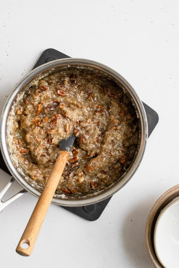 coconut pecan frosting in small pot