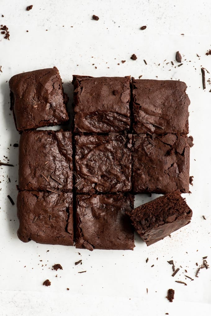 brownies just taken out of the pan and cut into 9 pieces