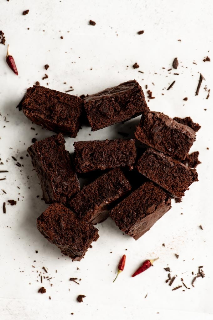 vegan brownies set on side to show texture