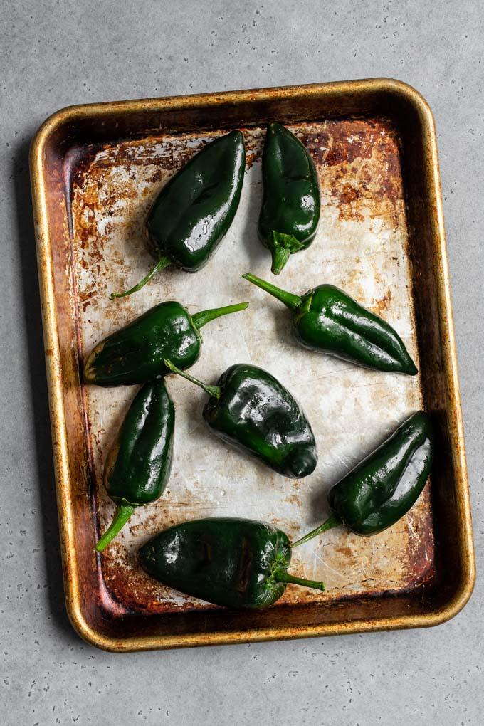 poblanos on baking sheet before roasting