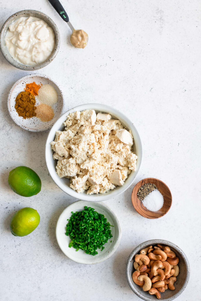 ingredients for curried tofu salad
