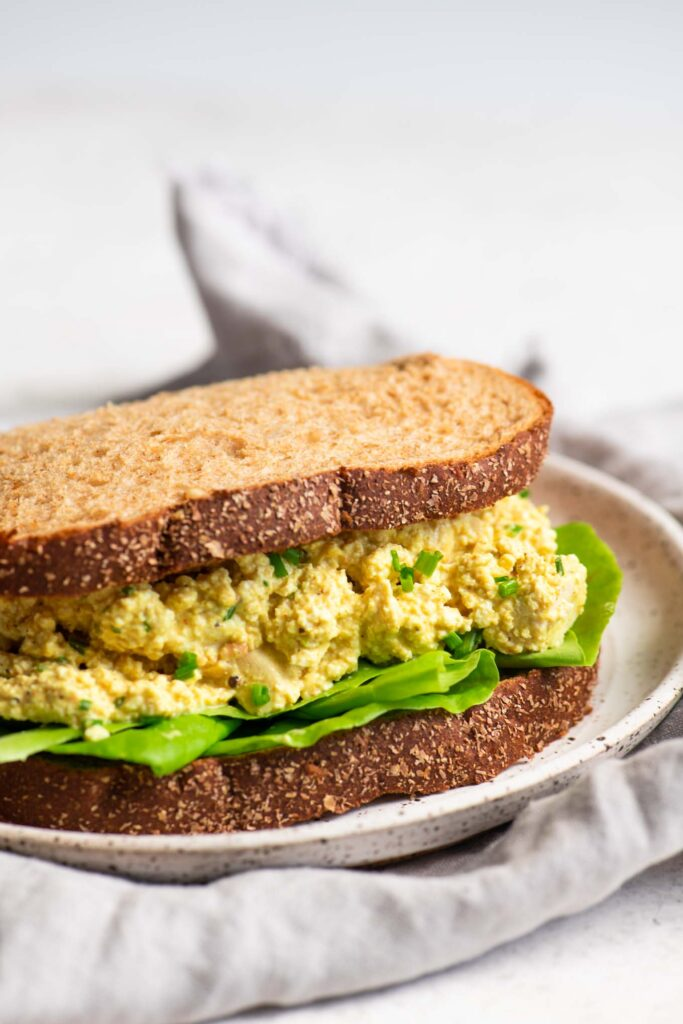 curried tofu salad sandwich