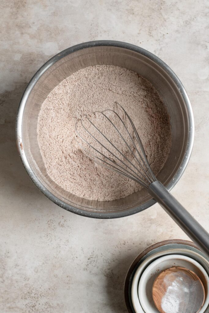dry ingredients mixed in mixing bowl