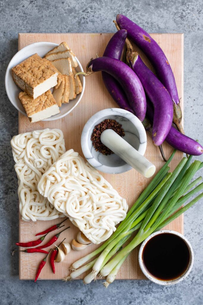 ingredients for spicy sichuan noodles, before prepping